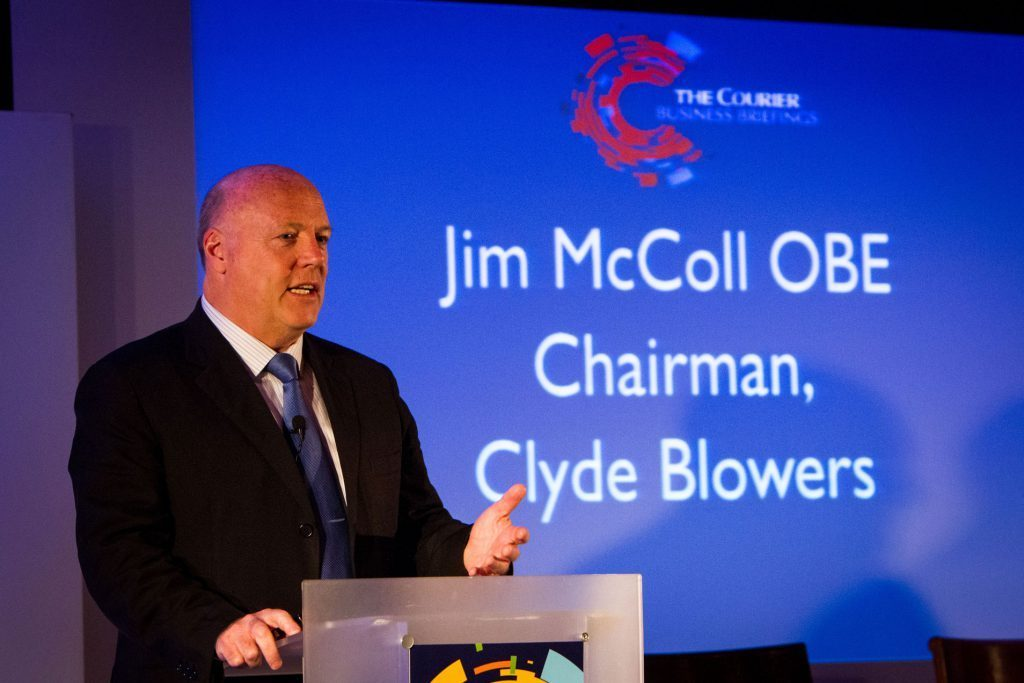 Jim McColl speaking at the Courier Business Briefings