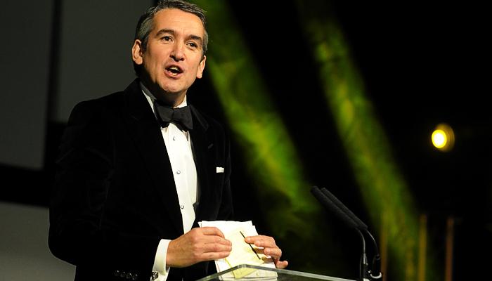 Damian Bates speaking at the Gold Awards