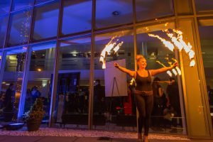 A fire breather performs at the Courier Business Awards 2016